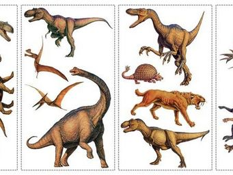 RoomMates - stickers repositionnables dinosaures - Sticker D�cor Adh�sif Enfant