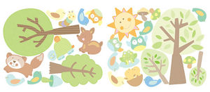 Wallies - stickers chambre bébé histoires d'animaux - Sticker Décor Adhésif Enfant