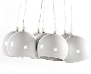 KOKOON DESIGN - lampe suspendue seven 7 abat-jour en métal blanc - Suspension