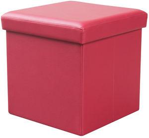 COMFORIUM - pouf de rangement simili cuir coloris rouge - Pouf