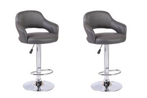 WHITE LABEL - lot de 2 chaises de bar fresh similicuir gris - Chaise Haute De Bar