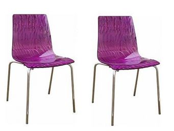 WHITE LABEL - lot de 2 chaises calima empilable design violet - Chaise