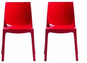 WHITE LABEL - lot de 2 chaises ice empilable design rouge brilla - Chaise