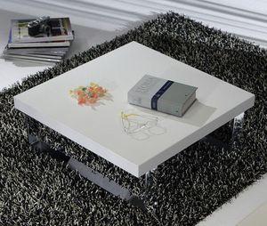 WHITE LABEL - table basse metropolis design blanc 65 cm - Table Basse Carrée