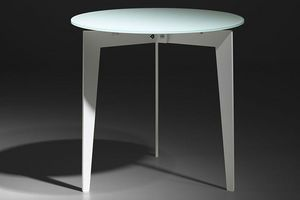 WHITE LABEL - table basse ronde dallas en verre dépoli blanc - Table Basse Ronde