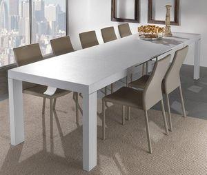WHITE LABEL - table repas extensible wind design blanc 167 cm - Table De Repas Rectangulaire
