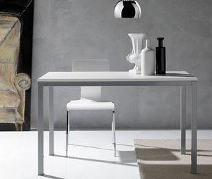 WHITE LABEL - table repas kerwiin design blanc 120 cm - Table De Repas Rectangulaire