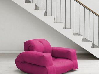 WHITE LABEL - fauteuil lit hippo futon rose couchage 90*200*25cm - Fauteuil
