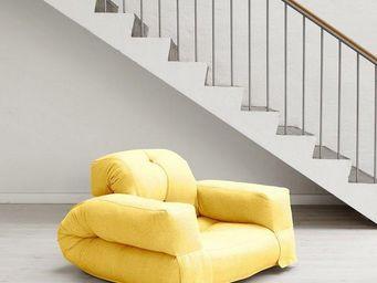 WHITE LABEL - fauteuil lit hippo futon jaune couchage 90*200*25c - Fauteuil