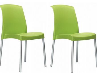 WHITE LABEL - lot de 2 chaises jane design vert - Chaise
