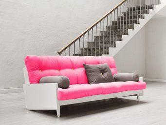 WHITE LABEL - canapé blanc 3/4 places convertible indie futon ro - Canapé 3 Places