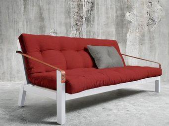 WHITE LABEL - canapé blanc 3/4 places convertible poetry futon r - Canapé 3 Places
