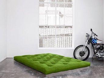 WHITE LABEL - matelas futon coco vert lime 160*200*16cm - Futon