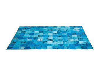 Kare Design - tapis patchwork blue water cuir 170x240cm - Tapis Contemporain