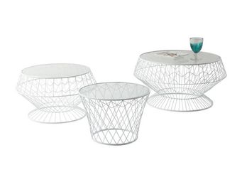 Kare Design - tables d appoint wire white 3/set - Table D'appoint