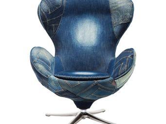 Kare Design - fauteuil pivotant lounge jeans - Fauteuil Rotatif