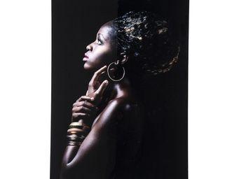 Kare Design - tableau en verre african queen profile 80x120cm - Tableau Décoratif