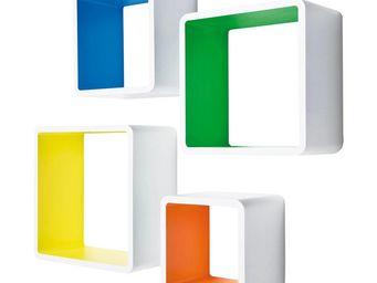 Kare Design - etagère cube mdf carré couleur 4/set - Etagère Murale Multiple