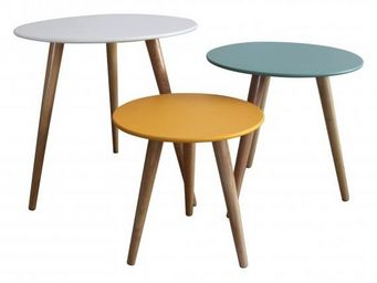 INWOOD - set 3 tables gigognes stockholm blanc/bleu/jaune - Tables Gigognes