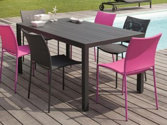 PROLOISIRS - salon bretagne 1 table + 6 chaises framboise - Salle À Manger De Jardin