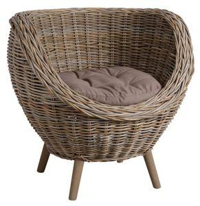 Aubry-Gaspard - fauteuil oeuf en poelet gris - Fauteuil