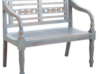 Aubry-Gaspard - banc de jardin en bois bleu antique - Banc De Jardin