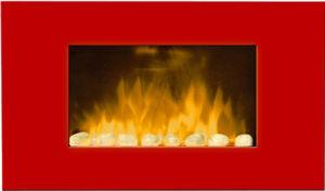 CHEMIN'ARTE - cheminée murale rouge en acier et verre trempé des - Cheminée Électrique