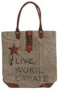 Aubry-Gaspard - sac vintage en coton recyclé et cuir modèle 3 - Cabas