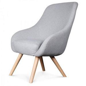 Demeure et Jardin - fauteuil design scandinave tissu gris flanelle egg - Fauteuil
