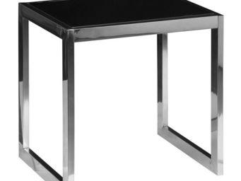 WHITE LABEL - bout de canapé en verre noir - karel - l 49 x l 49 - Bout De Canapé