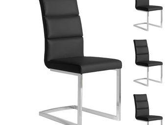 WHITE LABEL - quatuor de chaises eco-cuir noir - loni - l 45 x l - Chaise