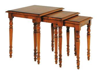 WHITE LABEL - tables gigognes en merisier - johanne - l 51 x l 3 - Tables Gigognes