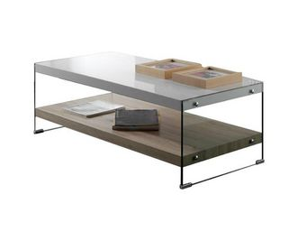 WHITE LABEL - table basse - libro - l 120 x l 60 x h 41 - verre  - Table Basse Rectangulaire
