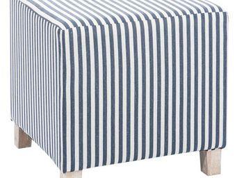 WHITE LABEL - pouf carré blanc/bleu - striky - l 34 x l 34 x h 3 - Pouf