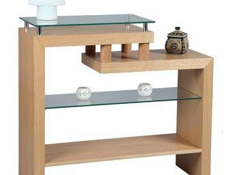 WHITE LABEL - console en bois de chêne - oaked - l 105 x l 35 x  - Console