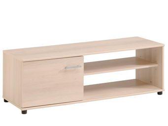 WHITE LABEL - meuble tv 1 porte acacia clair - nity - l 120 x l  - Meuble Tv Hi Fi