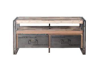 WHITE LABEL - meuble tv en bois 2 tiroirs - industry - l 112 x l - Meuble Tv Hi Fi
