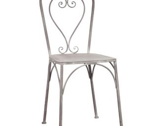 WHITE LABEL - chaise métal gris - heart - l 44 x l 51 x h 92 - m - Chaise