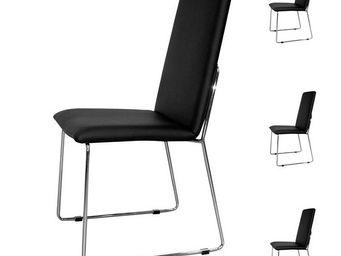 WHITE LABEL - quatuor de chaises simili cuir noir - turin - l 55 - Chaise