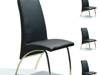 WHITE LABEL - quatuor de chaises simili cuir noir - dora - l 47  - Chaise