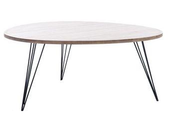 WHITE LABEL - table basse bois fumé et métal noir - gustave - l  - Table Basse Ronde