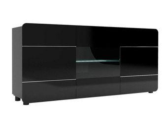 WHITE LABEL - buffet 3 portes 180 cm noir - mapp - l 181 x l 39  - Buffet Bas