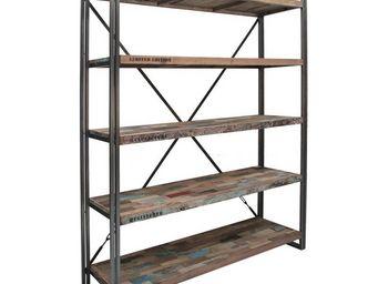 WHITE LABEL - bibliothèque en bois 5 étagères - industry - l 160 - Etagère