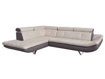 WHITE LABEL - canapé d\'angle taupe/beige - caio - l 260 x l 21 - Canapé Modulable