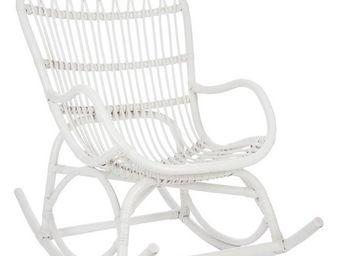 WHITE LABEL - rocking chair rotin blanc - ricky - l 110 x l 66 x - Rocking Chair