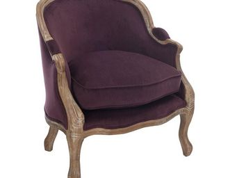 WHITE LABEL - fauteuil bergere aubergine - toinette - l 74 x l 6 - Fauteuil
