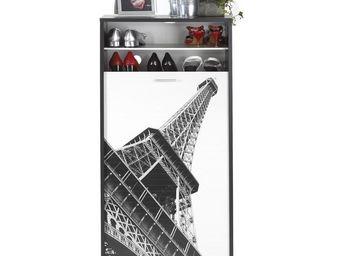 WHITE LABEL - meuble à chaussures à rideau noir - shoes n°6 - l  - Meuble À Chaussures
