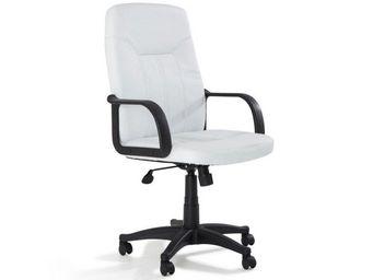WHITE LABEL - fauteuil de bureau lead similicuir blanc - Fauteuil De Bureau