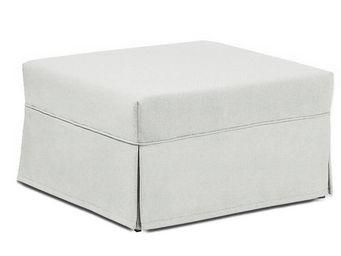 WHITE LABEL - pouf lit cagliari convertible cuir éco blanc cassé - Pouf