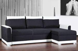 WHITE LABEL - canapé d'angle gigogne convertible express carlow - Canapé Modulable
